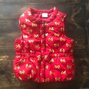 Gold Bow Puffer  Vest